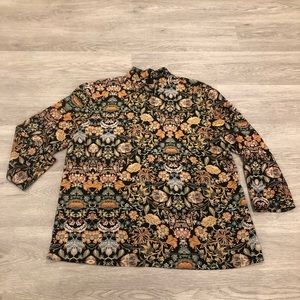 Zara Floral High Neck Long Sleeve Blouse Size S/M